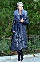 Пальто удленённое на силиконе с искуственным мехом.