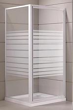 """FRIDA душова кабіна кутова квадратна 90*90*205 на дрібному піддоні 15 см, профіль білий, скло """"Frizek"""" 5 м"""
