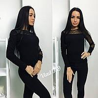 Красивая стильная женская кофточка свитер комбинированный с сеткой чёрный 42 44 46