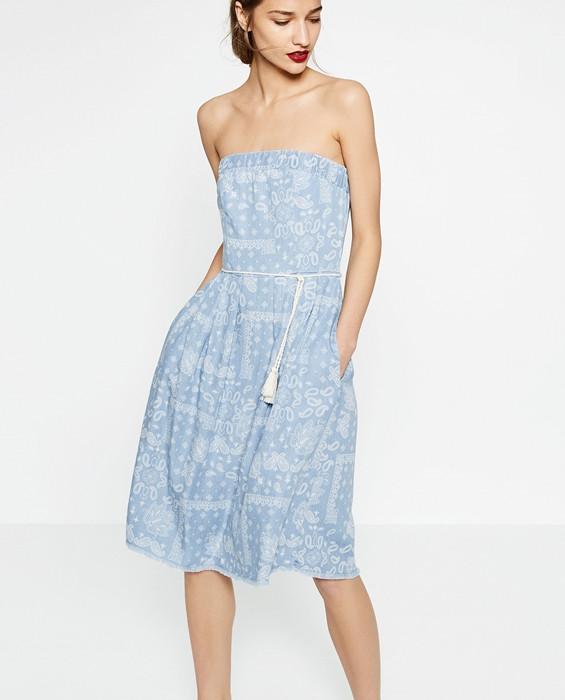 Новое миди платье без бретелей Zara