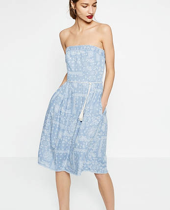 Новое миди платье без бретелей Zara, фото 2