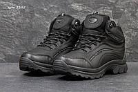 Мужские зимние ботинки Ecco пресс кожа ( Вьетнам) черные