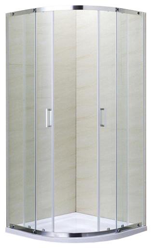 TOKAI душевая кабина угловая округлая 90*90*190, на мелком поддоне PUF 5 см, профиль хром, стекло прозрачное 5