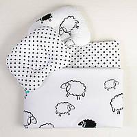 Комплект в детскую коляску BabySoon Белоснежные барашки одеяло 65 х 75 см подушка 22 х 26 см (120), фото 1