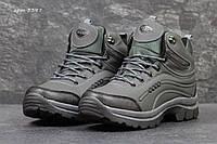 Мужские зимние ботинки Ecco пресс кожа ( Вьетнам)  серые