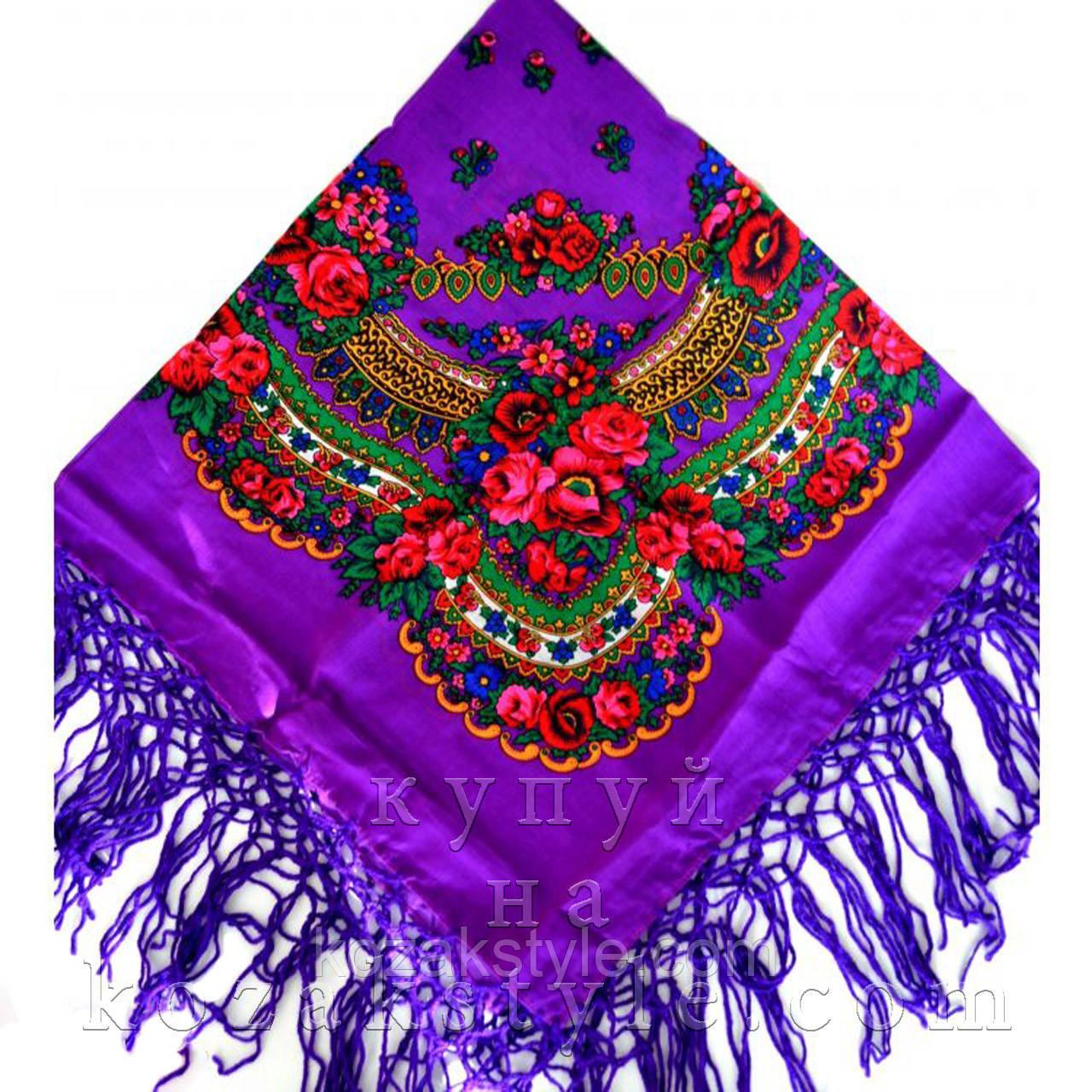 Українська хустка фіалкова (90х90)