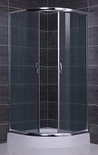 BALATON душова кабіна кутова округла 90*90*198 на дрібному піддоні PUF 13 см, профіль хром, скло тонований