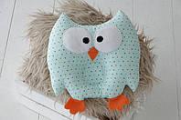 Гипоаллергенная подушка-игрушка для новорожденного Совушка мятная