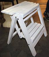 Лестница малая, деревянная стремянка для дома цвет белый, фото 1
