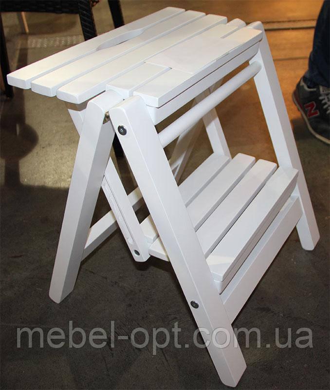 Лестница малая, деревянная стремянка для дома цвет белый - Мебель-опт в Киеве