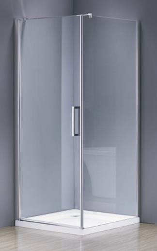 RUDAS душевая кабина квадратная 90*90*205 левая/правая, на мелком поддоне PUF 5 см, профиль хром, стекло прозр