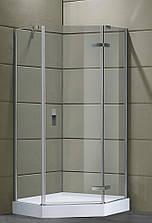 STEFANI душова кабіна кутова п'ятикутна 90*90*205 на дрібному піддоні 15 см, профіль хром, скло прозоро
