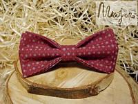 Бабочка-галстук бургунди цвета с узором Butterfly