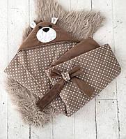 Летний конверт-одеяло на выписку Медведь коричневый