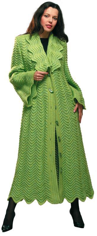 Пальто светло-зеленое с шелком