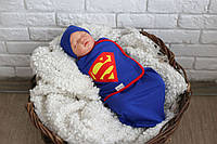 Пеленка на липучках с шапочкой Супермен, 0-3 мес
