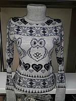 Теплый вязаный свитер Сова