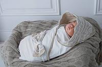 Конверт - плед для новорожденного Кружево Латте