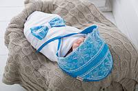 Конверт - плед для новорожденного Кружево Голубой