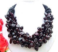 Ожерелье / Колье / Бусы из натурального ГРАНАТА и Черного Оникса