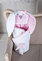 Теплый конверт-одеяло на выписку Зайчик розовый