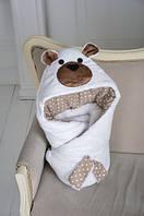 Теплый конверт-одеяло на выписку Медведь белый