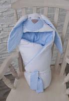 Теплый конверт-одеяло на выписку Зайчик голубой