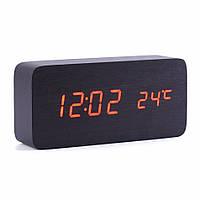 Цифровые светодиодные деревянные настольные часы с красной подсветкой, фото 1