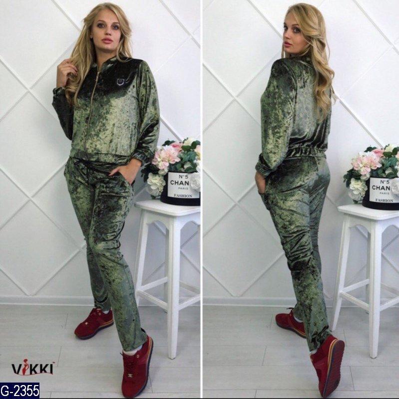 d7e064ee0500 Модный зеленый бархатный спортивный костюм Philipp Plein батал. Арт-14017