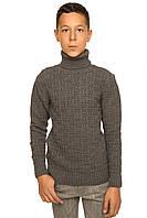 """Теплый вязанный свитер """"Феликс"""" для мальчика, цвет темно-серый"""
