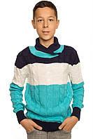 """Теплый вязанный свитер """"Тэйлор"""" для мальчика, цвет бирюзовый"""