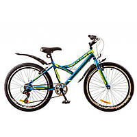"Велосипед Discovery 24"" FLINT 2018 AM 14G DD рама-13"" St черно-салатово-синий (OPS-DIS-24-077)"