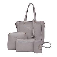 Набор женских сумок серого цвета 1515