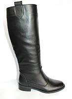 Сапожки женские высокие кожаные черного цвета
