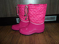 Теплые розовые детские непромокаемые сапожки сапоги на флисе.
