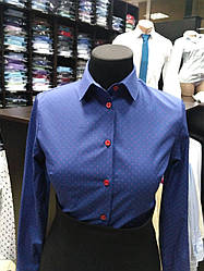 Блуза темно-синяя с красными пуговицами