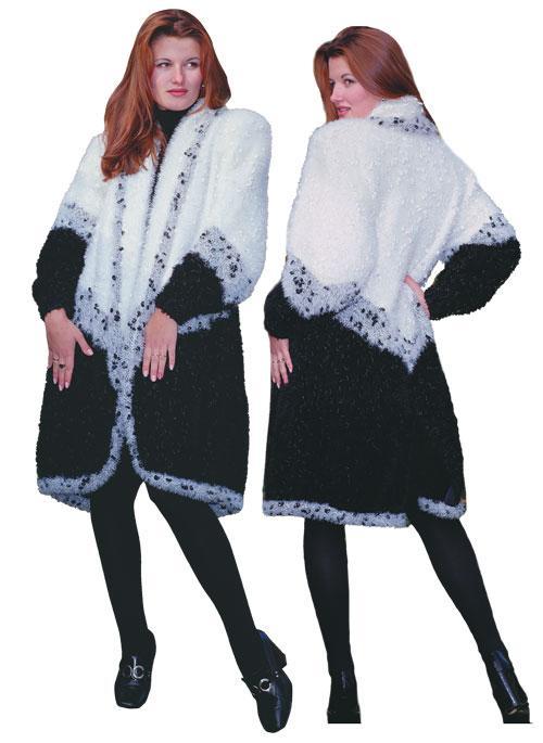 Пальто черно-белое короткое