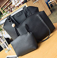 Женская сумка, маленькая сумочка и кошелек набор черный, фото 1