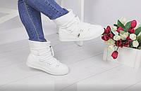 Женские дутики сноубутсы зимние в стиле Moon boots белые Венгрия