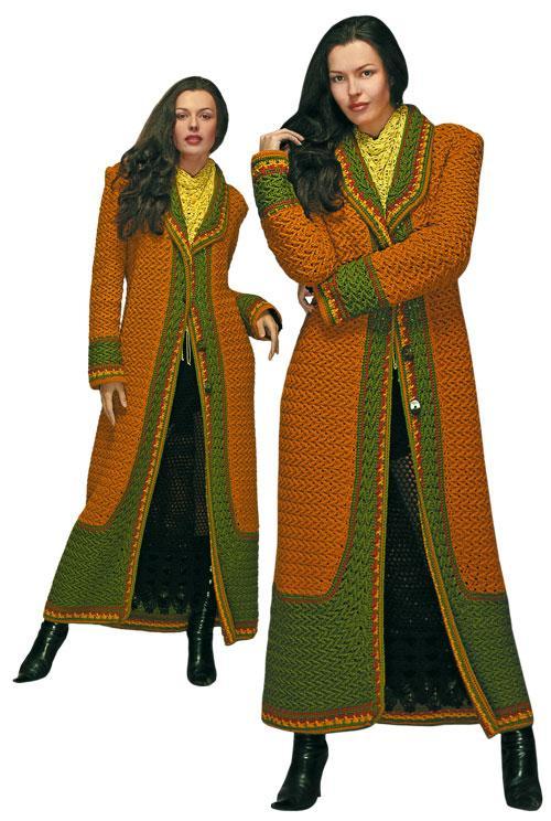 Пальто длинное коричнево-зеленое