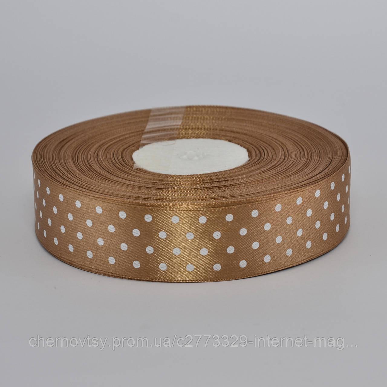 Лента атлас в горошек 1 см