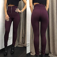 Стильные женские утепленные брюки на замке с высокой талией