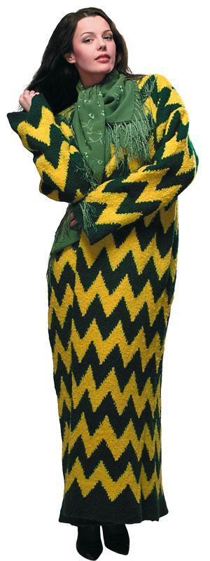 Пальто длинное желто-зеленое
