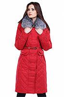 Зимнее стеганое пальто с поясом и натуральным мехом Сесилия