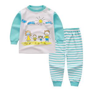 Пижама детская тонкая вязка полосатые штаны, фото 2