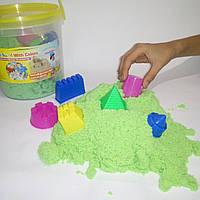 Кинетический песок зеленый в ведерке - 1000 грамм