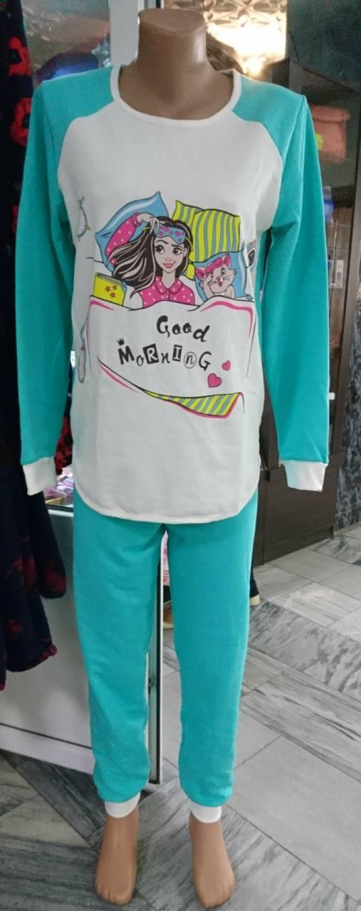 Женская теплая пижама футер начес р. 44-54, женские пижамы оптом от производителя