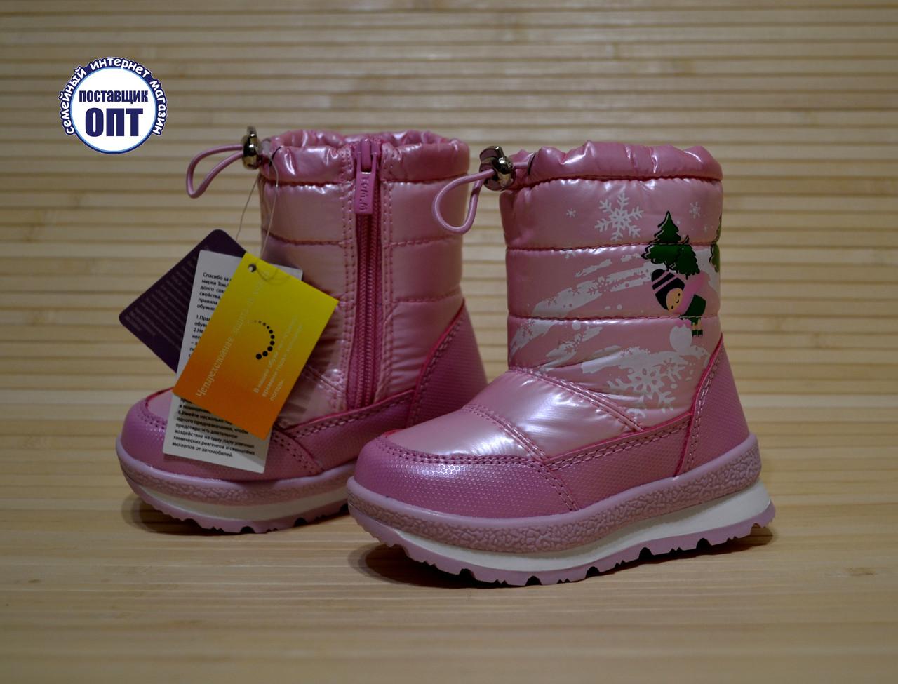 Зимние термо - сапожки дутики на девочку Tom.m розовые размеры 24, 27,