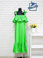 Салатовый сарафан из коттона салатового цвета с воланами