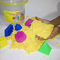 Кинетический песок желтый в ведерке - 1000 грамм